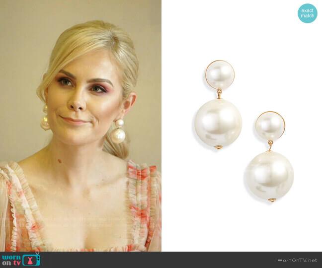 Imitation Pearl Doorknocker Earrings by Lele Sadoughi worn by Kameron Westcott  on The Real Housewives of Dallas