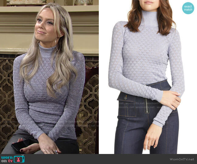 Lilette Metallic Pointelle Turtleneck by Cinq a Sept worn by Abby Newman (Melissa Ordway) on The Young & the Restless