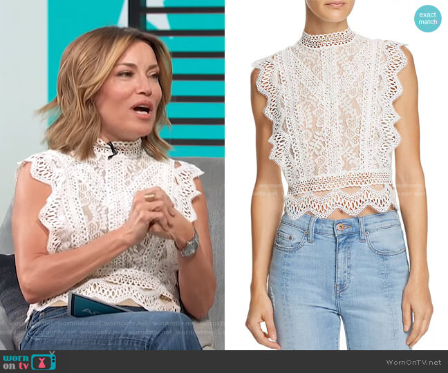 Abigail Lace Cropped Top by Lucy Paris worn by Kit Hoover  on Access Hollywood