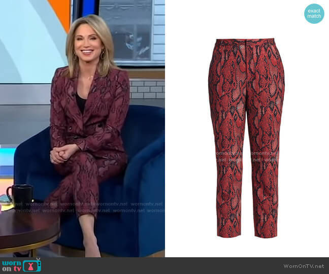 Ludivine Snake Print Crop Trousers by L'Agence worn by Amy Robach  on Good Morning America