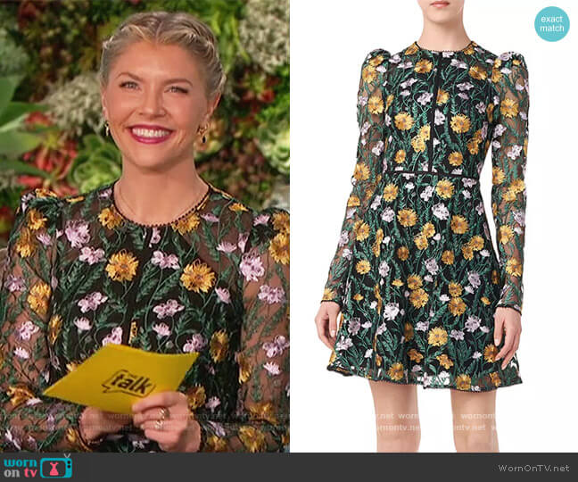 Floral Embroidered Puff-Sleeve Mesh Dress by ML Monique Lhuillier worn by Amanda Kloots  on The Talk