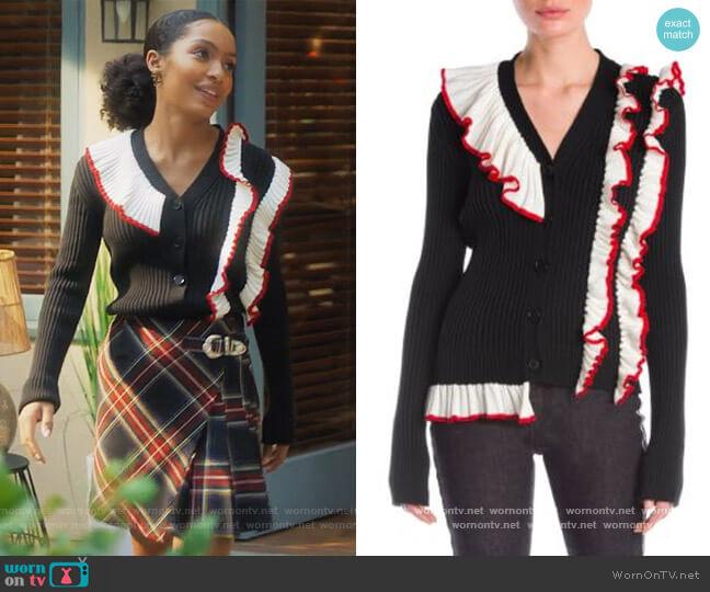 Black Cardigan with Contrasting Ruffle by MSGM worn by Zoey Johnson (Yara Shahidi) on Grown-ish