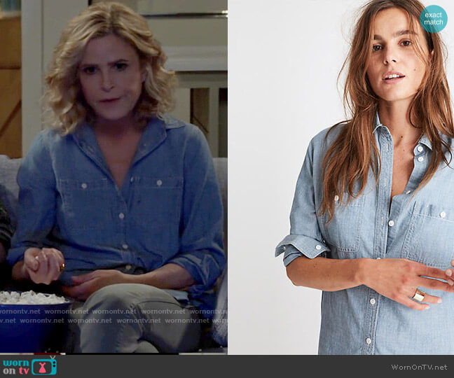 Madewell Chambray Oversized Ex-Boyfriend Shirt worn by Jean Raines (Kyra Sedgwick) on Call Your Mother