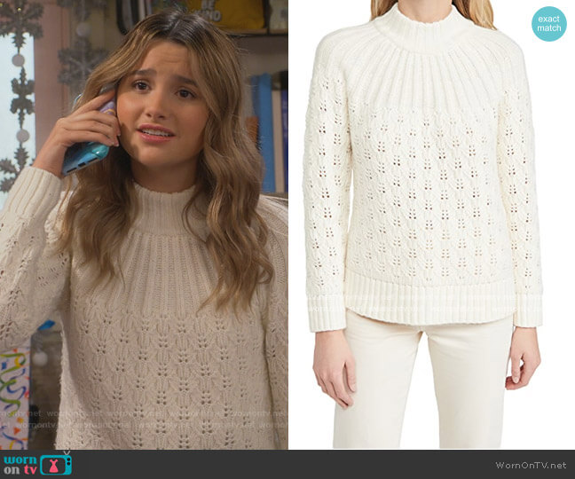 Pointelle Stitch Mix Mock Neck Sweater by Madewell worn by Lex (Jules LeBlanc) on Side Hustle