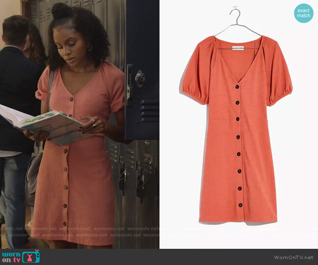 Texture & Thread Puff-Sleeve Dress by Madewell