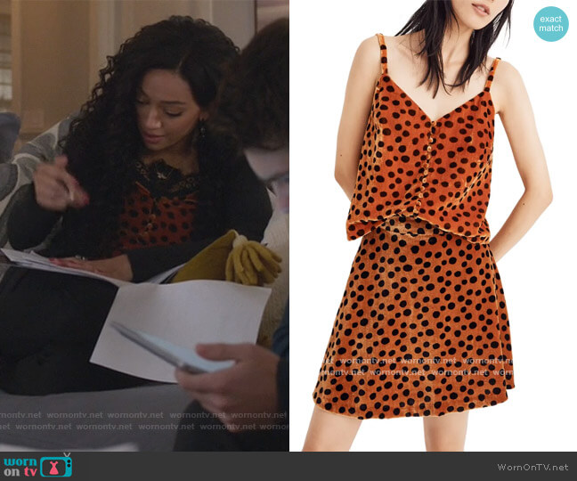 Velvet Leopard Dot Button Front Camisole by Madewell worn by Olivia Baker (Samantha Logan) on All American