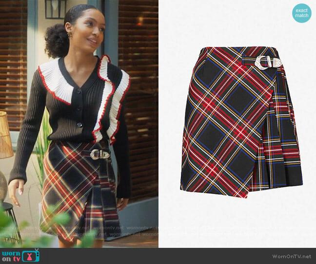 Tartan-print Woven Skirt by Maje worn by Zoey Johnson (Yara Shahidi) on Grown-ish