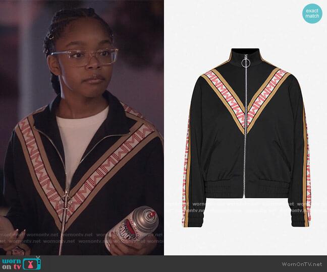 Trevise Zip-Up Sweatshirt by Maje worn by Diane Johnson (Marsai Martin) on Blackish