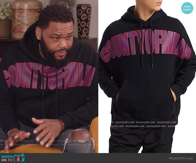 County Of Milan Hoodie by Marcelo Burlon worn by Andre Johnson (Anthony Anderson) on Blackish