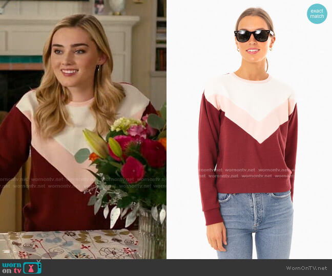 Sandy Shrunken Sweatshirt by Marine Layer worn by Taylor Otto (Meg Donnelly) on American Housewife