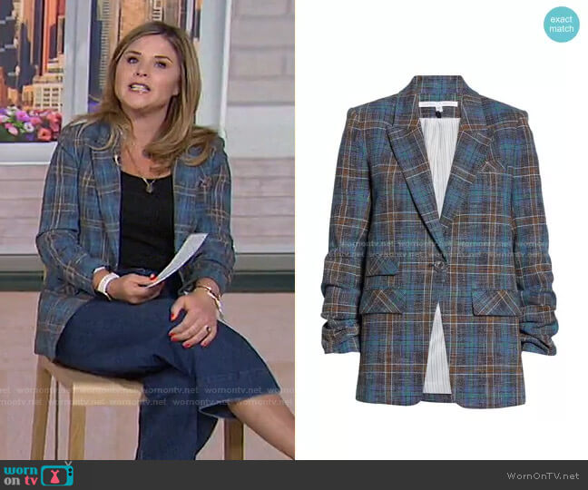 Martel Plaid Dickey Jacket by Veronica Beard worn by Jenna Bush Hager  on Today