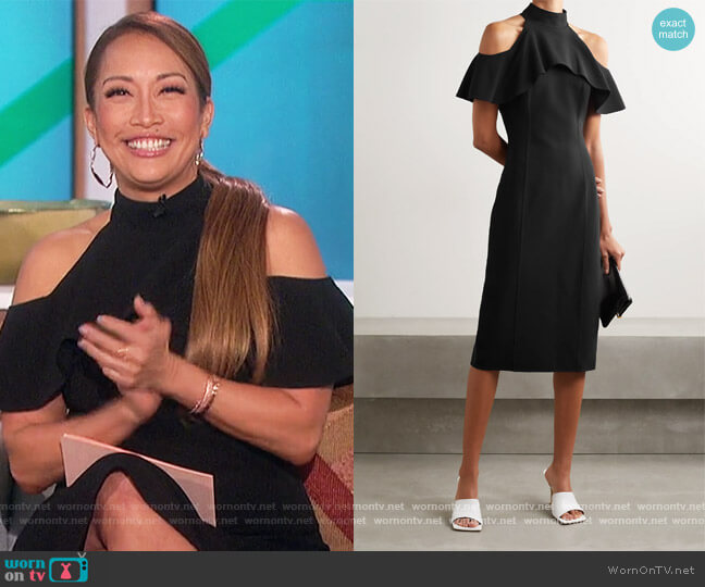 Cold-shoulder ruffled stretch-wool midi dress by Michael Kors worn by Carrie Inaba  on The Talk