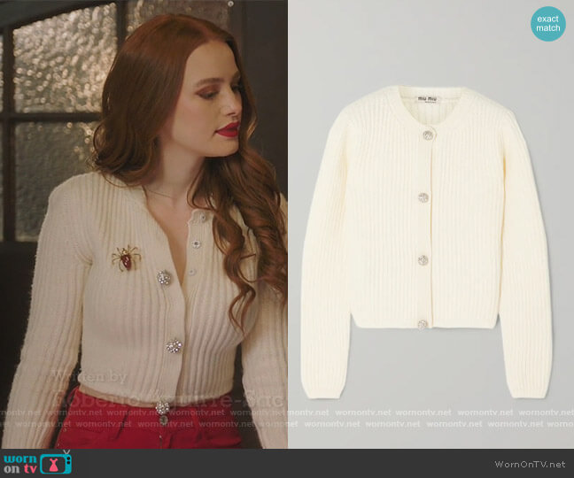 Cropped Crystal-embellished Ribbed Cashmere Cardigan by Miu Miu worn by Cheryl Blossom (Madelaine Petsch) on Riverdale
