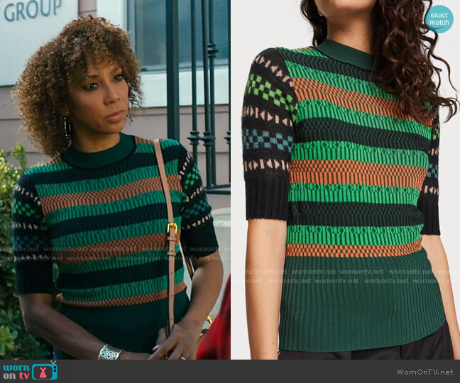 Mixed Sweater by Scotch & Soda worn by Holly Robinson Peete on American Housewife
