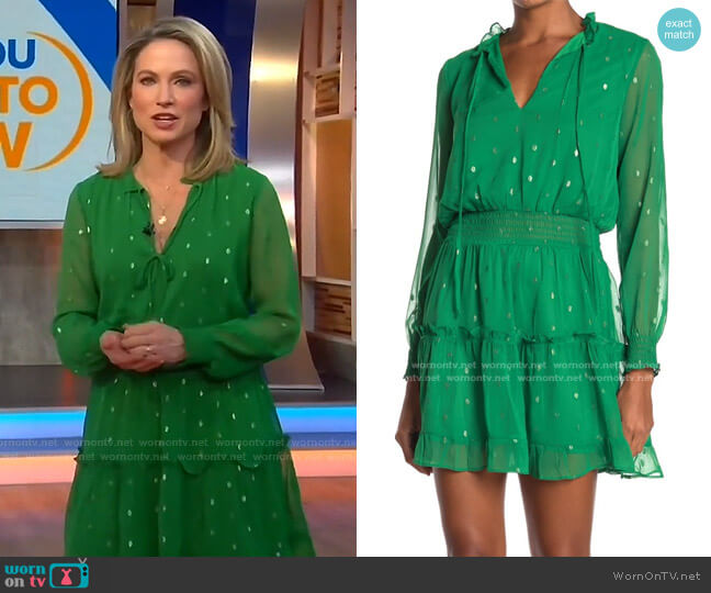 Ruffle Trim Smocked Dress by NSR worn by Amy Robach  on Good Morning America