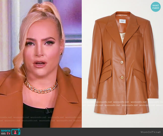 Cancun vegan leather blazer by Nanushka worn by Meghan McCain  on The View
