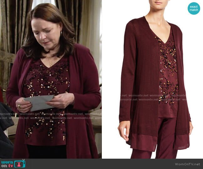 Nic + Zoe Contessa Long Cardigan with Sheer Trim worn by Nina on The Young and the Restless
