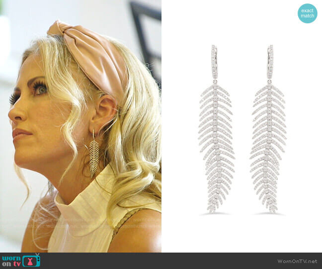 Feather Diamond Earrings by Nicole Rose worn by Stephanie Hollman  on The Real Housewives of Dallas