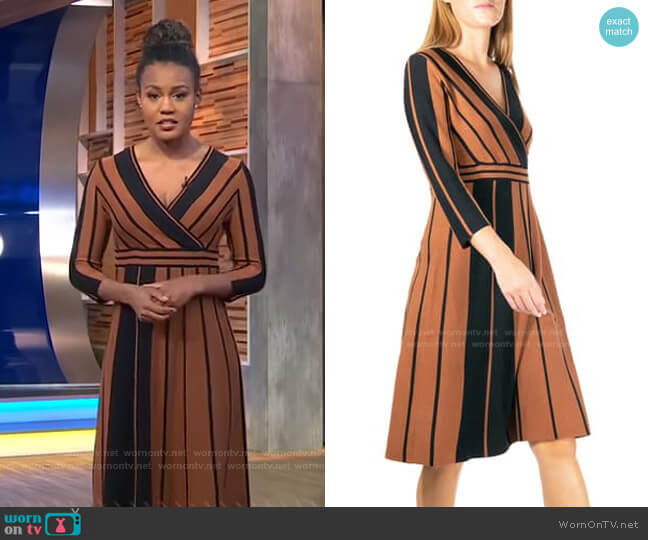 Stripe Surplice Neck Fit & Flare Dress by Nina Leonard worn by Janai Norman  on Good Morning America