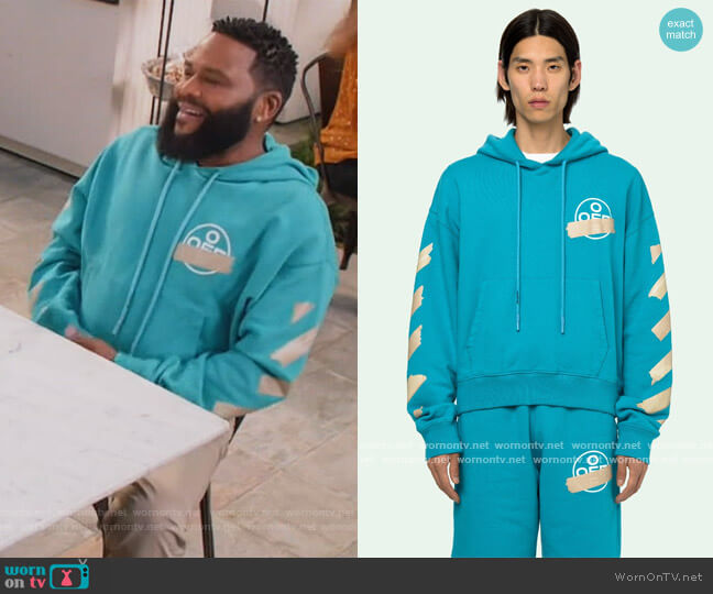 Arrows Printed Hoodie by Off-White worn by Andre Johnson (Anthony Anderson) on Blackish