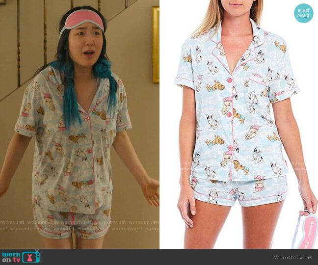 Beach Dog Printed Top & Shorts Pajama Set by PJ Salvage worn by Soo-Ram Kim on Kims Convenience