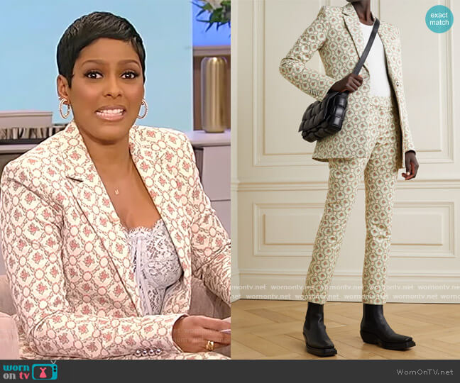Quilted cotton-blend floral-jacquard blazer and pants by Paco Rabanne worn by Tamron Hall  on Tamron Hall Show