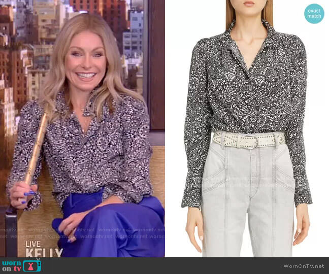 Paisley Print Silk Blouse by Isabel Marant worn by Kelly Ripa  on Live with Kelly & Ryan
