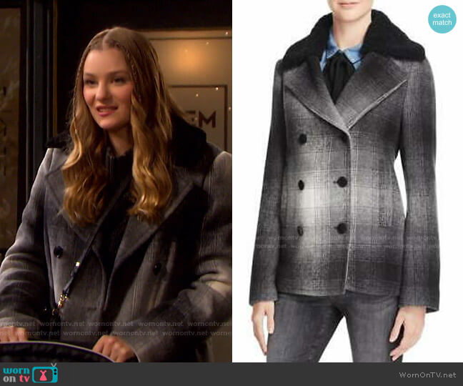 Plaid Coat by T By Alexander Wang worn by Alice Caroline Horton (Lindsay Arnold) on Days of our Lives