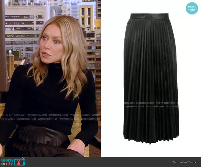Pleated Faux Leather Midi Skirt by MM6 Maison Margiela worn by Kelly Ripa  on Live with Kelly & Ryan