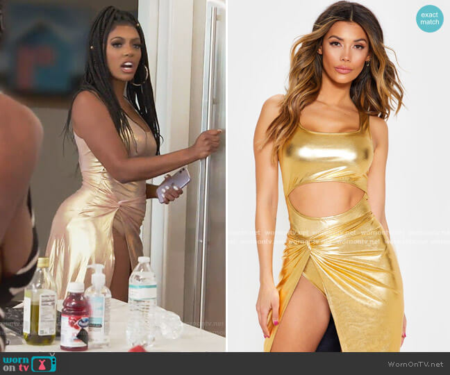 Gold Metallic Slinky Neck Cutout Bodysuit and Skirt by Pretty Little Thing worn by Porsha Williams  on The Real Housewives of Atlanta