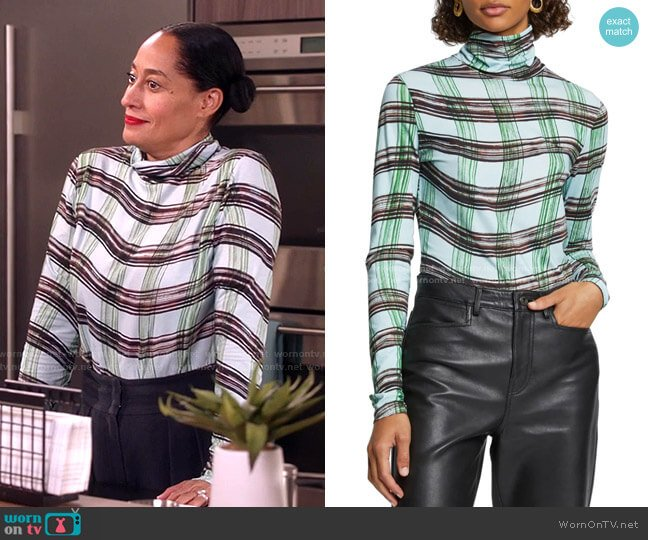 Plaid Stretch Cotton Jersey Top by Proenza Schouler White Label worn by Rainbow Johnson (Tracee Ellis Ross) on Blackish