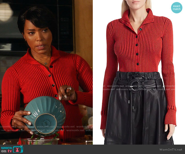 Ribbed Cardigan by Proenza Schouler White Label worn by Athena Grant (Angela Bassett) on 9-1-1