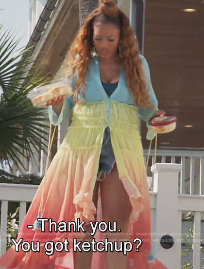 Drew Sidora's rainbow ombre dress on The Real Housewives of Atlanta