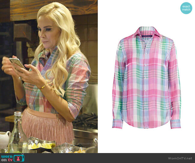 Hannah Cotton Madras Shirt by Ralph Lauren worn by Kameron Westcott  on The Real Housewives of Dallas