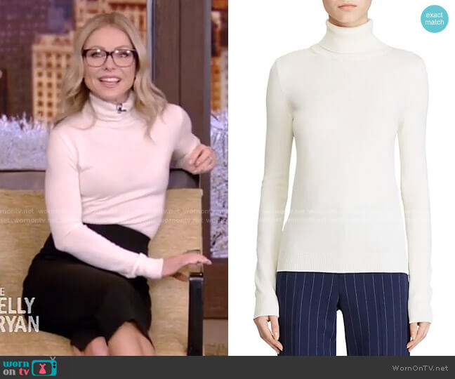 Mulberry Silk Turtleneck by Ralph Lauren worn by Kelly Ripa  on Live with Kelly & Ryan
