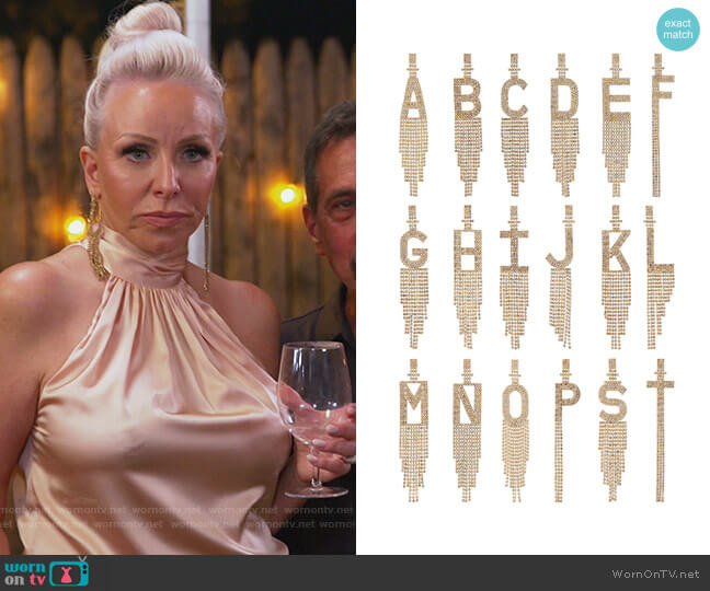 Alphabet Earrings by Retrofete worn by Margaret Josephs  on The Real Housewives of New Jersey