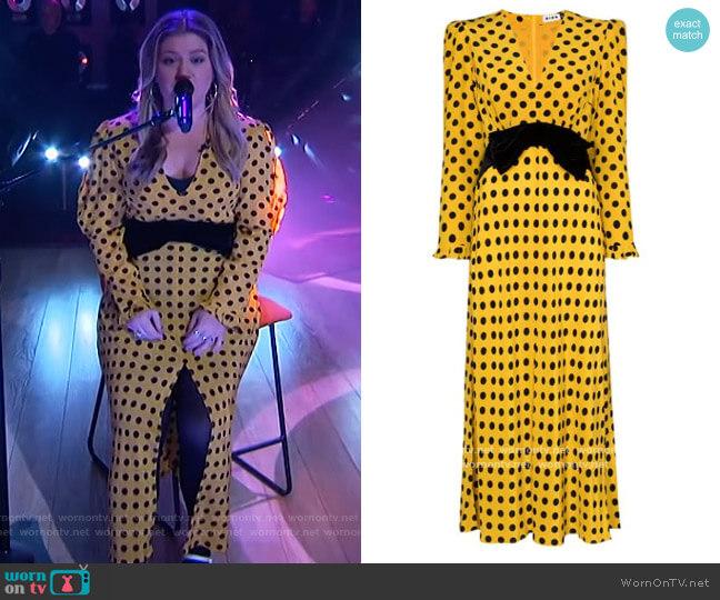 Elodie Polka Dot Bowtie Dress by Rixo worn by Kelly Clarkson  on The Kelly Clarkson Show