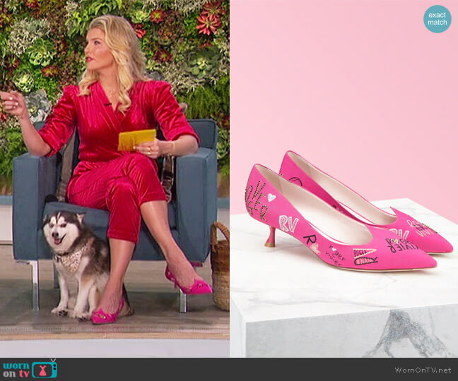 I Love Vivier Funny Love Pumps in Fabric by Roger Vivier worn by Amanda Kloots  on The Talk