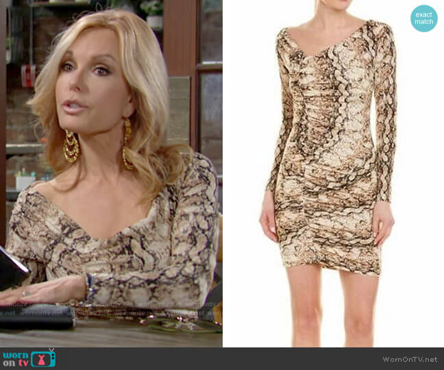 Ronny Kobo Snake Print Long Sleeve Bodycon Dress worn by Lauren Fenmore (Tracey Bregman) on The Young & the Restless