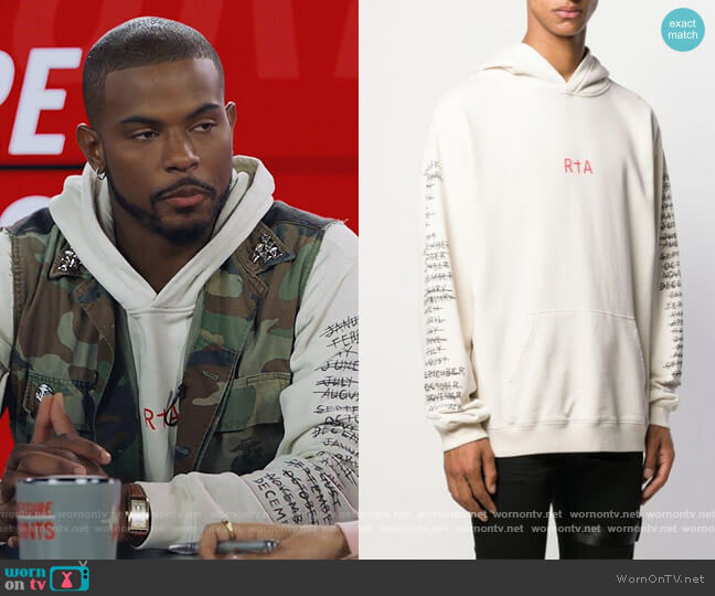 Logo Print Hoodie by RtA worn by Aaron Jackson (Trevor Jackson) on Grown-ish
