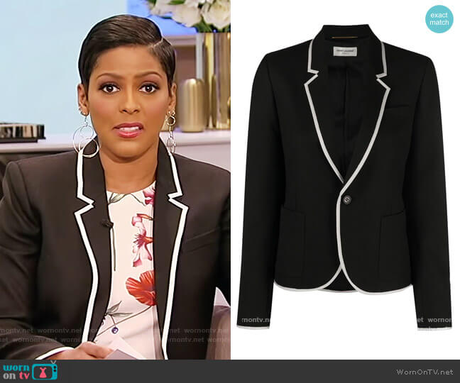Contrast-trim Single-breasted Blazer by Saint Laurent worn by Tamron Hall  on Tamron Hall Show