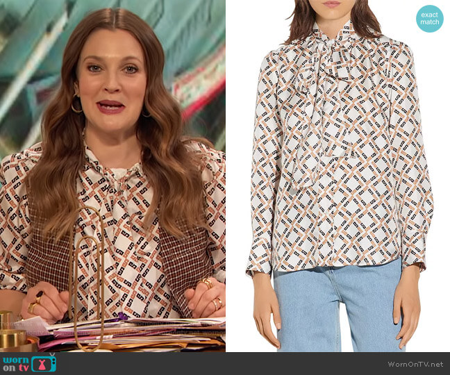 Sany Printed Silk Blouse by Sandro worn by Drew Barrymore  on The Drew Barrymore Show