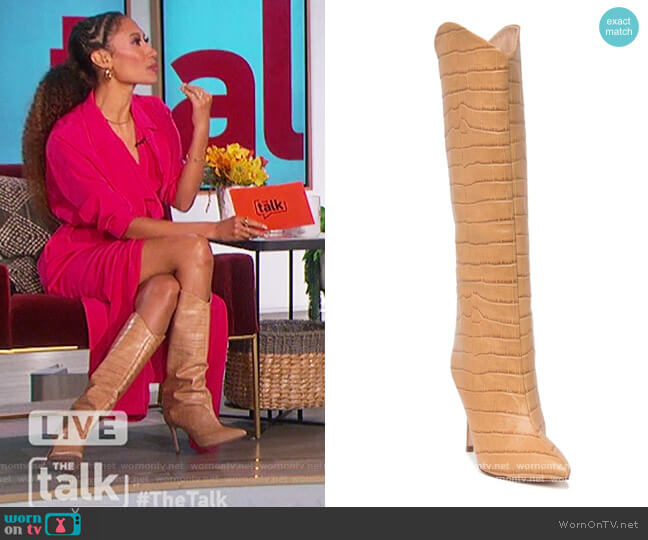 aryana Croc-Embossed Leather Knee High Boot by Schutz worn by Elaine Welteroth  on The Talk