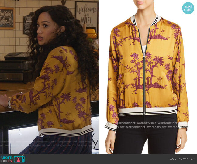 Reversible Printed Bomber Jacket by Scotch & Soda worn by Olivia Baker (Samantha Logan) on All American