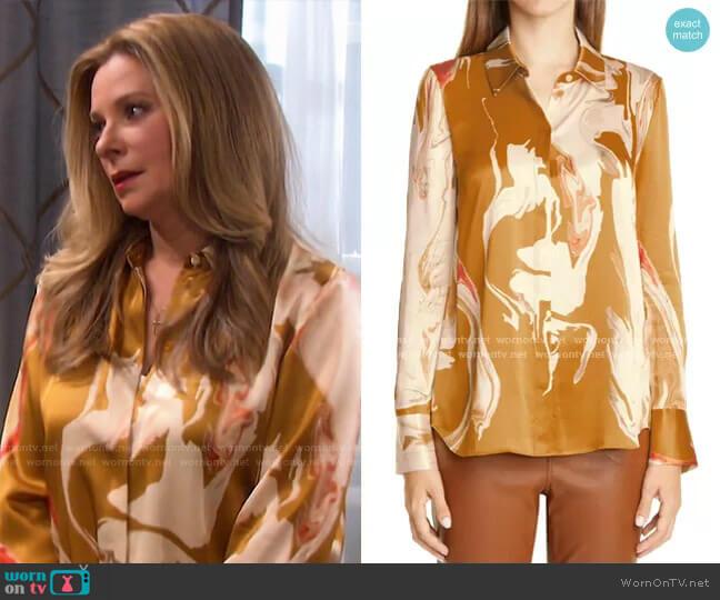 Scottie Silk Blouse by Lafayette 148 New York worn by Jennifer Horton (Cady McClain) on Days of our Lives