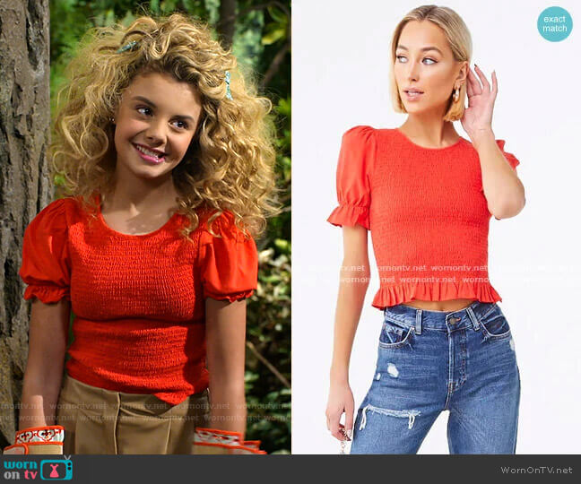 Smocked Ruffled Top by Forever 21 worn by Destiny Baker (Mallory James Mahoney) on Bunkd