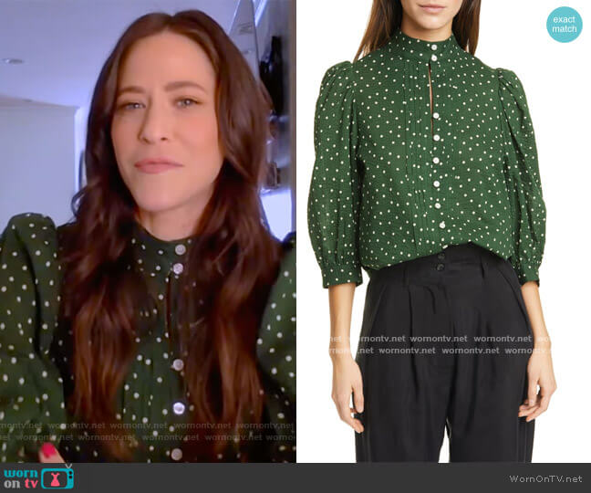Frontier Dot Puff Sleeve Cotton Blouse by Smythe worn by Jackie Tohn on The Kelly Clarkson Show