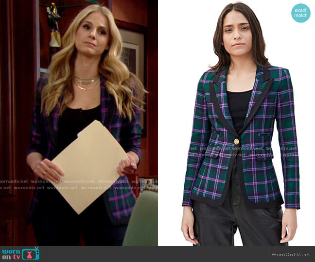 Smythe Taped Peaked Lapel Blazer in Cooper Tartan worn by Eva (Kelly Kruger) on The Bold and the Beautiful