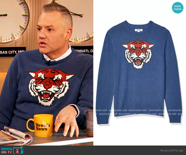 Soft Cotton Crewneck Sweater in Tiger by Goodthreads worn by Ross Mathews on The Drew Barrymore Show