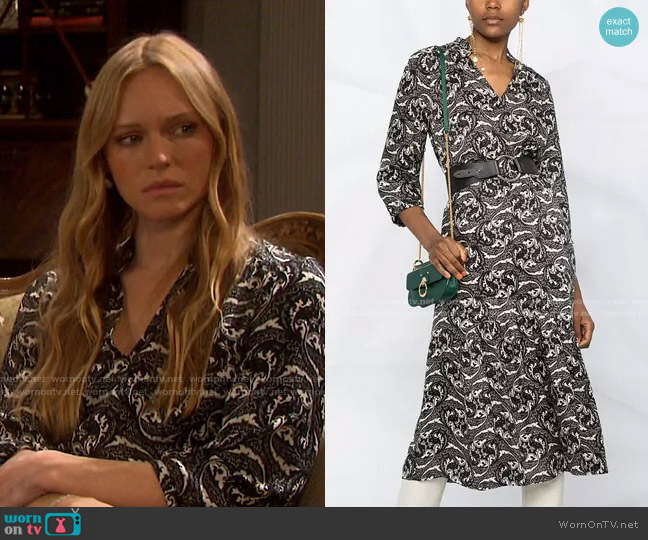 Song Paisley Print Midi Dress by Ba&Sh worn by Abigail Deveraux (Marci Miller) on Days of our Lives